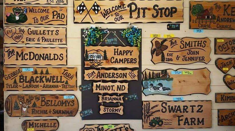 assortment of redwood signs